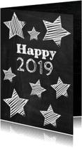 Nieuwjaarskaarten - Happy New Year 2019 schoolbord-ByF