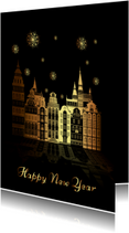 Nieuwjaarskaarten - Happy New Year goudprint