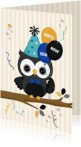 Nieuwjaarskaarten - Happy New Year met feest-uil