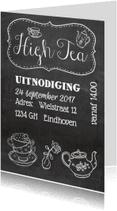Uitnodigingen - High Tea krijtbord