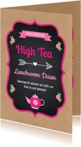 Uitnodigingen - High Tea uitnodiging kraft - LB