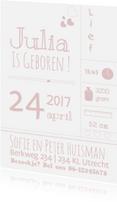 Geboortekaartjes - Hip typografy geboortekaartje J