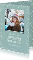 Kerstkaarten - Hippe kerstkaart met witte confetti en eigen foto