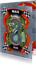 Verjaardagskaarten - Hoera 8 jaar racebaan kaart