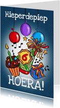 Verjaardagskaarten - Hoera! - feestmuts