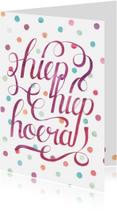 Verjaardagskaarten - Hoera krulletters confetti