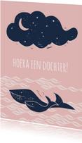 Felicitatiekaarten - Hoera walvis heeft een dochter!