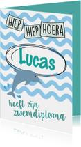 Geslaagd kaarten - Hoera zwemdiploma met dolfijn