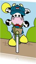 Vakantiekaarten - Holland koe op fiets