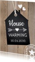 Uitnodigingen - Housewarming houtprint label krijtbord