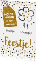 Uitnodigingen - Housewarming huisje boompje feestje goud