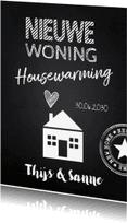 Uitnodigingen - Housewarming krijtbord