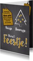 Kerstkaarten - Huisje boompje feestje glitter