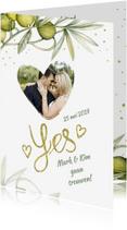 Trouwkaarten - Huwelijk olijftak handlettering