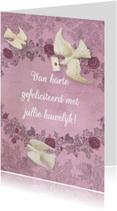 Felicitatiekaarten - Huwelijksfelicitatie duiven roze
