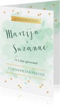 Jubileumkaarten - Huwelijksjubileum aquarel hartjes goudlook