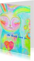 Rouwkaarten - Ik denk aan je knuffelkonijn