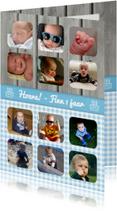 Kinderfeestjes - Jaarkaart Hout Blauw Jongen
