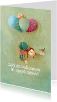 Verjaardagskaarten - Jarig - Hanging on Balloons -MW