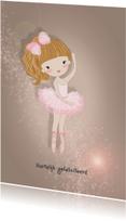 Verjaardagskaarten - Jarigkaart ballet meisje strik
