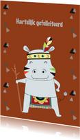 Verjaardagskaarten - Jarigkaart Hippo met indianentooi