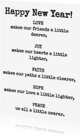 Nieuwjaarskaarten - Joy makes our hearts lighter