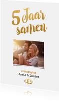 Jubileumkaarten - Jubileum 5 jaar samen goud - BK