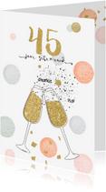 Jubileumkaarten - Jubileum huwelijk 45 - confetti