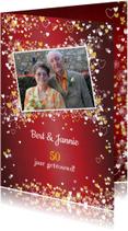 Jubileumkaarten - Jubileum trouwdag stijlvolle rode foto uitnodiging
