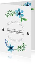 Jubileumkaarten - Jubileum uitnodigingskaart 25 Jaar getrouwd bloemen