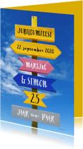 Jubileumkaarten - Jubileum wegwijzer kleur - OT
