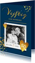 Jubileumkaarten - Jubileumkaart 50 jaar huwelijk stijlvol goudlook met foto