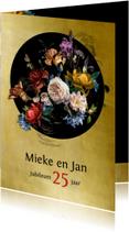 Jubileumkaarten - Jubileumkaart bloemen oude meesters met goud