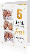 Jubileumkaarten - Jubileumkaart fotocollage goud hartjes 5 jaar
