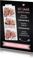 Jubileumkaarten - Jubileumkaart fotocollage krijtbord roze hartje