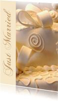 Trouwkaarten - Just Married witte bruidstaart