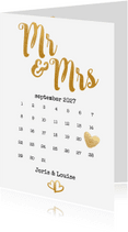 Trouwkaarten - Kalender Mr & Mrs goud - BK