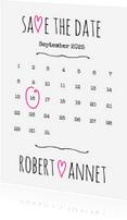 Trouwkaarten - Kalender Save the Date wit- BK