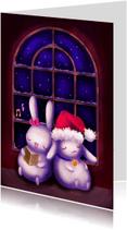 Kerstkaarten - Kerst - Chubby bunnies bij raam