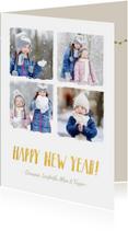 Kerstkaarten - Kerst collagekaart met 4 foto's en sneeuweffect