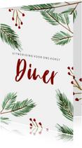Kerst diner kaart met kerstboom takjes en rode besjes