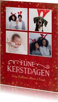 Kerstkaarten - Kerst fotocollage kaart met rode achtergrond en sterren goud