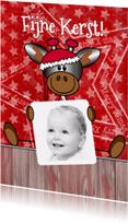 Kerstkaarten - KERST giraffe rood foto Stnd