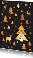 Kerstkaarten - Kerst - Patroon kerstboom, rendier, ster