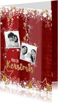 Kerstkaarten - Kerst rood hout sprankelend goud