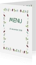 Menukaarten - Kerstblaadjes groen menukaart