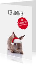 Kerstkaarten - Kerstdiner konijntje