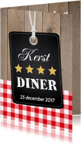 Kerstkaarten - Kerstdiner label hout rode ruit - LB