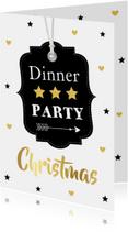 Kerstkaarten - Kerstdiner uitnodiging label confetti zwart - LB