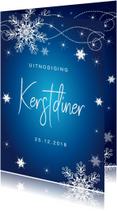 Kerstdiner uitnodiging sneeuwvlokken blauw